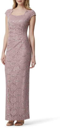 Tahari Sequin Embellished Evening Gown