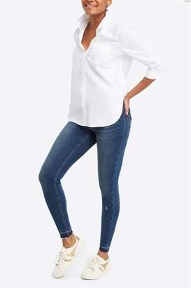 Spanx Womens Distressed Skinny Jeans - Blue