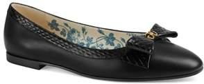 Gucci Genuine Snakeskin Trim Ballet Flat
