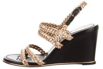 Chanel Braided Leather Wedges w/ Tags Gold Braided Leather Wedges w/ Tags