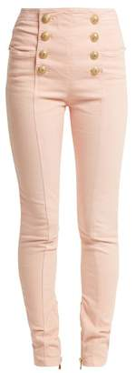 Balmain High Rise Skinny Leg Jeans - Womens - Light Pink