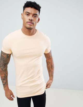 Asos Design DESIGN Longline Muscle Fit T-Shirt With Crew Neck And Stretch