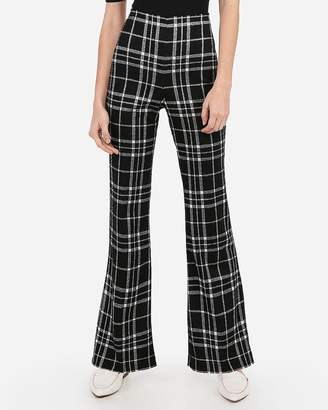 Express Super High Waisted Plaid Flare Pant