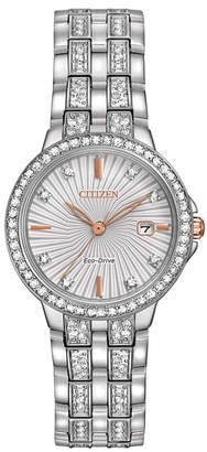 Zales Ladies' Citizen Eco-DriveA Silhouette Crystal Watch With Silver-Tone Dial (Model: EW2340-58A)