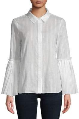 BCBGMAXAZRIA Striped Woven Cotton Top