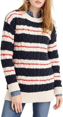 J.Crew Stripe Cable Knit Tunic Sweater