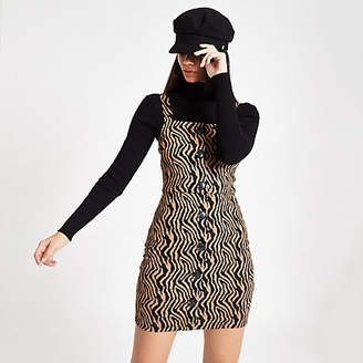 River Island Womens Brown zebra print pinafore mini dress