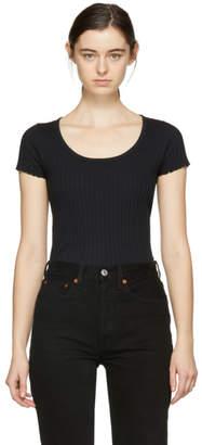 Rag & Bone Black Alma Ribbed T-Shirt