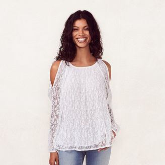 Women's LC Lauren Conrad Lace Cold-Shoulder Top $44 thestylecure.com