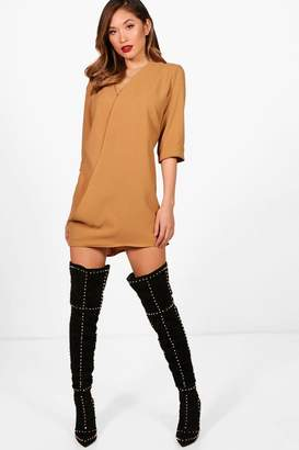 boohoo Wrap Front Shift Dress