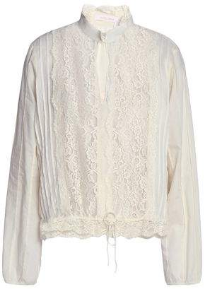 See by Chloe Lace-Paneled Pintucked Crepe De Chine Blouse