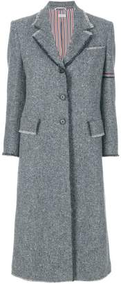 Thom Browne striped frayed-edge overcoat