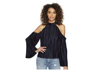 J.o.a. Cold Shoulder Pleated Top Women's Blouse