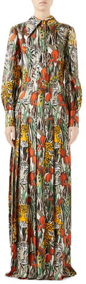 Gucci Feline Garden Print Long Sleeve Silk Dress
