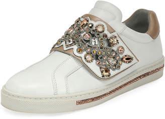 Rene Caovilla Crystal-Embellished Grip-Strap Sneaker