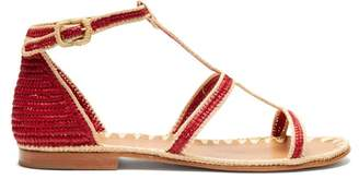Carrie Forbes Tama Raffia Sandals - Womens - Red Multi