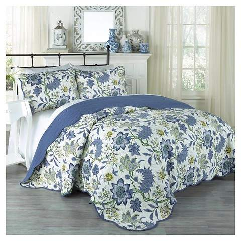 Traditons by Waverly Blue Floral Maldives Quilt Set 3pc - Traditions by Waverly®