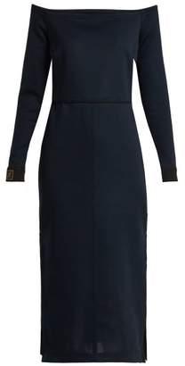 Fendi Off The Shoulder Midi Dress - Womens - Navy