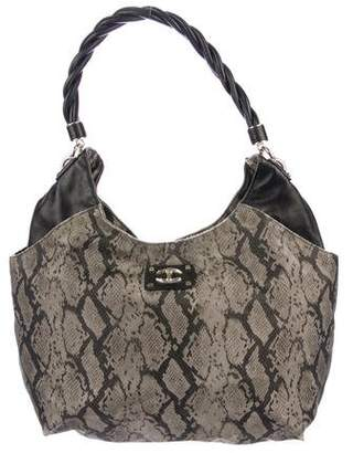 Just Cavalli Leather-Trimmed Printed Nylon Bag
