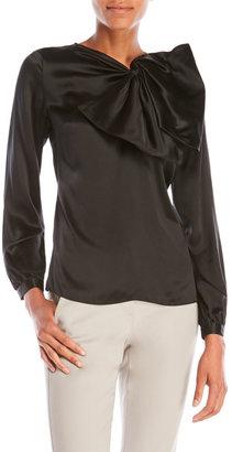 pink tartan Silk Asymmetrical Bow Blouse $325 thestylecure.com