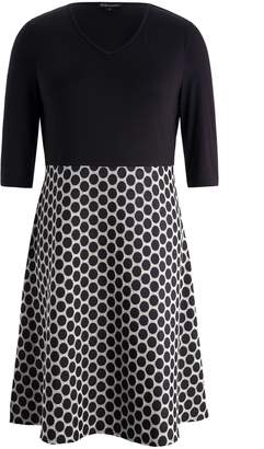 Chicwe Women's V Neck Bodice Plus Size Dress with Dot A-Line Skirt 3X
