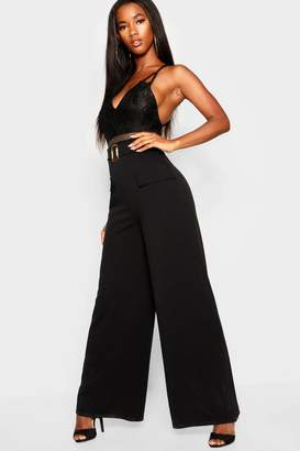 boohoo Pocket Front Mock Horn Belt Wide Leg Trousers