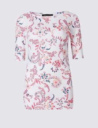 Marks and Spencer Pure Cotton Floral Print Half Sleeve T-Shirt