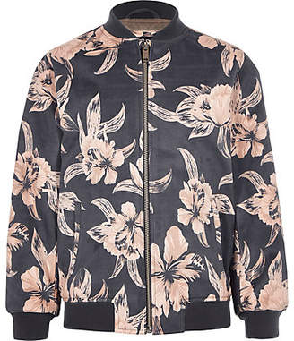 ce41908ed848 River Island Boys Grey floral faux suede bomber jacket