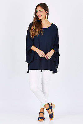 NEW PQ Collection Womens Blouses High Tide Top Size OneSize DeepNavy - Tops