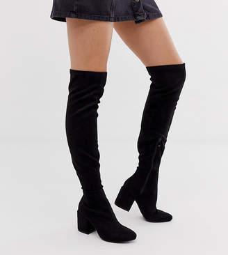 Raid Wide Fit RAID Wide Fit Kola black round toe over the knee boots