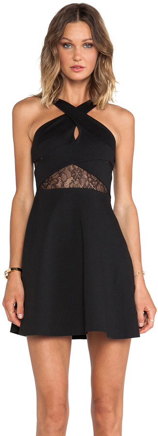 BCBGMAXAZRIA BCBGeneration Fit & Flare Keyhole Dress