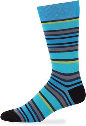 Jared Lang Men's Variegated Striped Cotton Socks, Blue