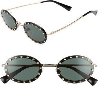 Valentino 51mm Crystal Rockstud Oval Sunglasses