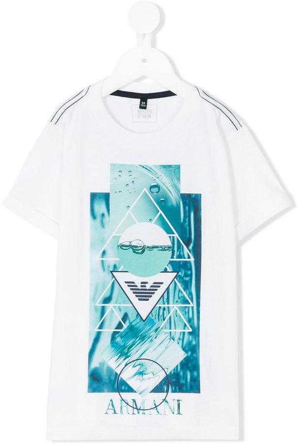 Armani JuniorArmani Junior geometry and water print T-shirt