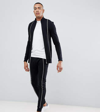 Asos DESIGN tall tracksuit muscle track jacket/super skinny joggers with piping in black