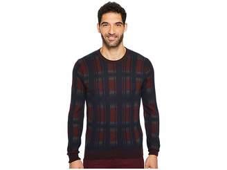 Perry Ellis Winter Cotton Plaid Crew Sweater Men's Sweater