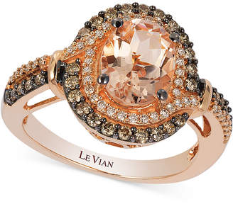 LeVian Le Vian Peach Morganite (1-1/5 ct. t.w.) and Diamond (1/2 ct. t.w.) Ring in 14k Rose Gold