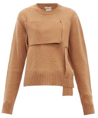 Bottega Veneta Woven Panel Wool Sweater - Womens - Camel