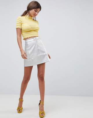 Traffic People Metallic A Line Mini Skirt