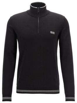 BOSS Zip-neck cotton-blend sweater with contrast tipping