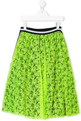 MSGM Kids TEEN neon lace skirt