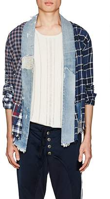 Greg Lauren Men's Plaid Flannel & Denim Kimono Shirt