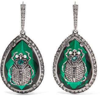 Alexander McQueen Beetle Silver-plated, Crystal And Faux Pearl Earrings - Green