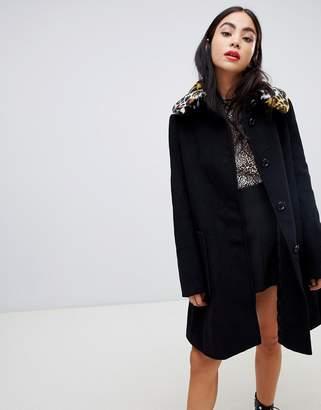 5b9cf3826a1 Love Moschino Leopard Faux Fur Collar Swing Coat