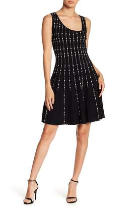 BCBGMAXAZRIA Pleated Fit And Flare Dress