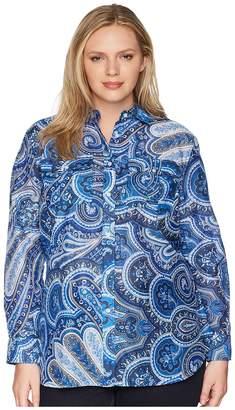 Lauren Ralph Lauren Plus Size Paisley Silk-Blend Shirt Women's Clothing