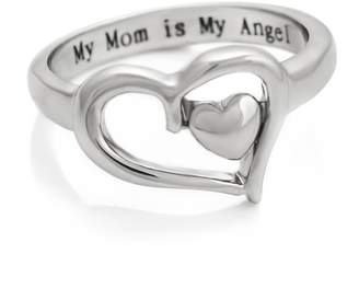 ARTZO Double Hearts Mom Ring, Promise Ring, Purity Mothers Ring Gift For Mother Engraved with - My Mom is My Angel, Ring Sizes 6 to 9