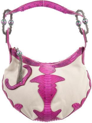 Jimmy ChooJimmy Choo Small Watersnake & Canvas Handle Bag