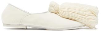 Jil Sander Tassel Trim Velvet Slippers - Womens - White