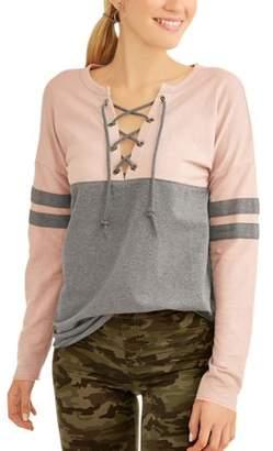 Derek Heart Juniors' Colorblock Varsity Stripe Lace-Up Long Sleeve T-Shirt